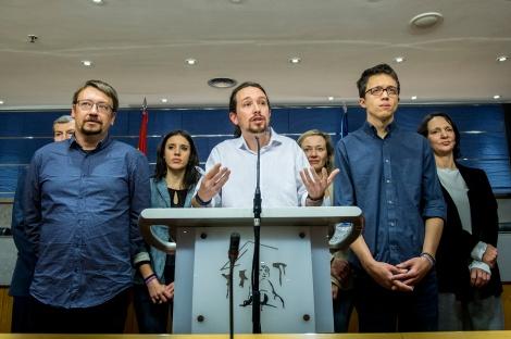 PLablo Iglesias, durante la rueda de prensa en la que dio a conocer su oferta de gobierno al PSOE (Foto: Flickr Podemos).